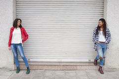 Urban style girls. Urban style girl in the city Stock Images