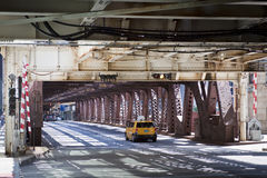 Urban Style: Taxi on Bridge Royalty Free Stock Images