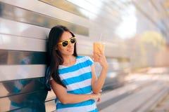 Urban Summer Fashion Woman Having a Refreshment Drink Outdoors stock photos