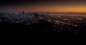 Urban Sunrise. Panoramic San Francisco Sunrise Time Lapse stock video
