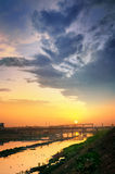 urban sunrise sunset river in morning Stock Photos