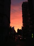 Urban sunset. Sunset at buenos aires stock photo