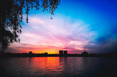 Urban sunset royalty free stock image