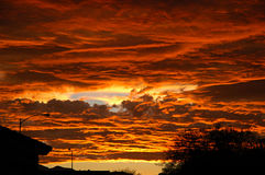 Urban Sunset in Las Vegas. Las Vegas Sunset during West Coast forest fires Royalty Free Stock Photo