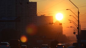 Urban sunset road. Sunset in the city (Kyiv stock video