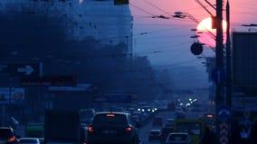 Urban sunset road stock footage