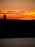 Urban Sunset Silhouette Puerto Madryn Royalty Free Stock Images