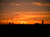 Urban Sunset Silhouette Puerto Madryn Stock Photography