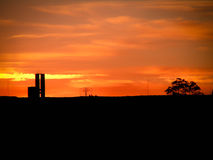 Urban Sunset Silhouette Puerto Madryn Stock Images