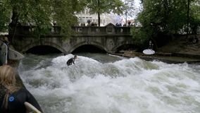 Urban surfers ride the standing wave on the Eisbach River, Munich, Germany. Slow Motion. MUNICH, GERMANY, SEPTEMBER 15, 2017: Urban surfers ride the standing stock video