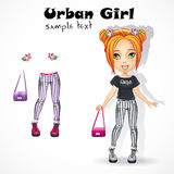 Urban teen girl in jeans. Fashionable modern girl teenager blouse jeans the articles of clothes Royalty Free Stock Photo