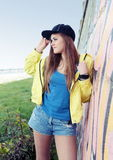 Urban Teenager Girl Young Adult Woman on Street Royalty Free Stock Photo