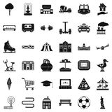 Urban thing icons set, simple style. Urban thing icons set. Simple style of 36 urban thing vector icons for web isolated on white background Royalty Free Stock Photo