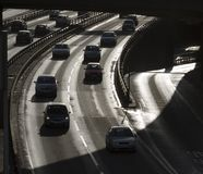 Urban traffic. Cars running on an urban motorway in the UK royalty free stock photo