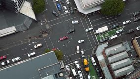 Urban traffic from above stock footage