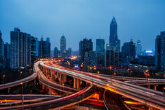 Urban traffic with cityscape in city of China Stock Image