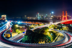 Urban traffic with cityscape in Shenzhen Stock Photo