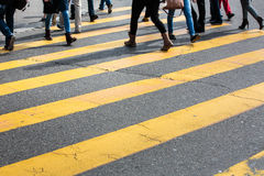 Urban traffic concept - city street with a motion blurred crowd Royalty Free Stock Photo