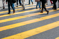Urban traffic concept - city street with a motion blurred crowd Stock Images