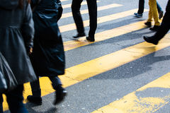Urban traffic concept - city street with a motion blurred crowd Royalty Free Stock Images