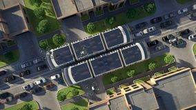 Urban traffic of the future. Top view. 3d animation. 4K. Urban traffic of the future. Top view stock video