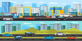 Urban Traffic Horizontal Banners Royalty Free Stock Images