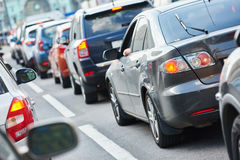 Urban traffic jam in a city street road Royalty Free Stock Photography