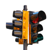Urban traffic light isolated on white background Stock Photos