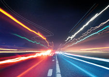 Urban Traffic Light Trails royalty free stock photography