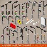 Urban Traffic Management Set Isometric Stock Images