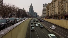 Urban traffic in Moscow stock video footage