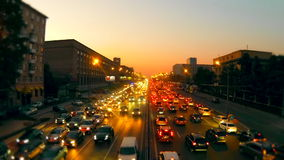 Urban traffic in Moscow. Night Traffic Time Lapse stock video