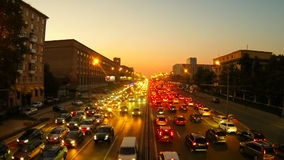 Urban traffic in Moscow. Night Traffic Time Lapse stock video footage