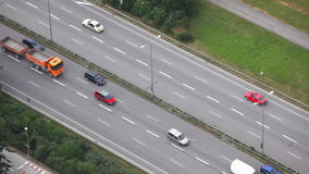 Urban traffic in Munich, Germany - view from telecom tower stock video footage