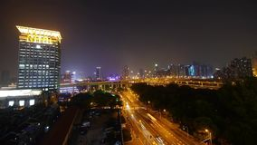 Urban traffic at night,Brightly lit shanghai city Landscape. stock footage