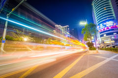 Urban traffic night scene Royalty Free Stock Photography