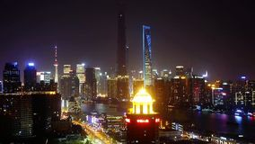 Urban traffic at night,shanghai business center,shipping on huangpu river. stock video