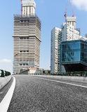 Urban traffic road with cityscape in background in Shanghai. China Stock Photo