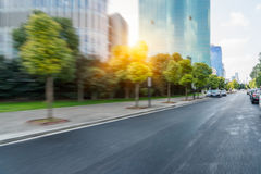 Urban traffic road with cityscape in background in Shanghai. China Royalty Free Stock Image