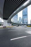 Urban traffic road with cityscape in background in Shanghai. China Stock Images