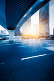 Urban traffic road with cityscape in background in Shanghai. China Royalty Free Stock Photo
