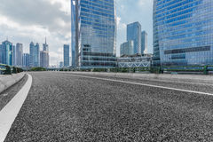 Urban traffic road with cityscape in background in Shanghai. China Royalty Free Stock Photography