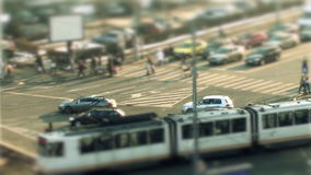 Urban traffic, tilt shift in Bucharest stock footage
