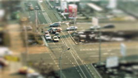 Urban traffic, tilt shift in Bucharest stock video