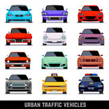 Urban traffic vehicles, car icons in flat style Royalty Free Stock Images