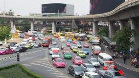 Urban traffic at Victory Monument, Bangkok stock footage