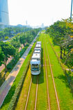 Urban tram and energy saving and environmental protection Royalty Free Stock Photography