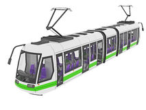Urban tram illustration Royalty Free Stock Photos