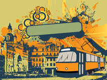 Urban tramway illustration. Vector illustration of a tram with city buildings on background Royalty Free Stock Images