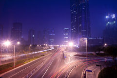 Urban transport. Shanghai Pudong roads of the city at night stock photo